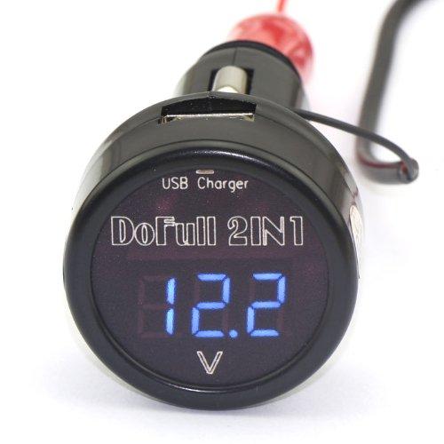 Drok™ Cigarette Lighter Digital Blue Led Voltage Monitor 12 V 24V+Usb Car Charger 5V/2A For Iphone/Ipad/Ipod