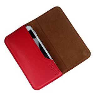 i-KitPit : Genuine Leather Flip Pouch Case Cover For Lava iris 402 (RED)