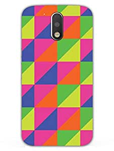 Moto G4 Plus Back Cover - Colorful - Triangles Of Toned Color - Designer Printed Hard Shell Case
