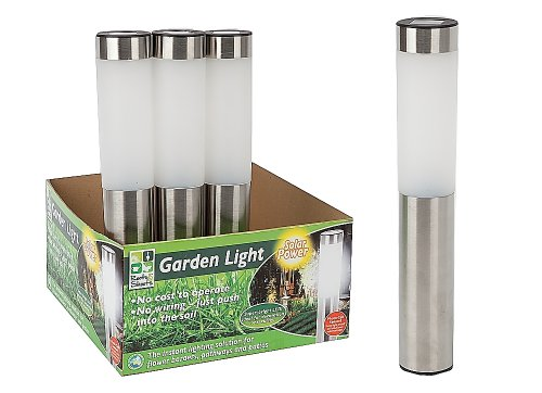Deluxe Stainless Steel Solar Power Led Garden Post Lights Outdoor Lamp Set of 2