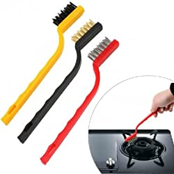 3PCS Kitchen Basin Gas Stove Iron Nylon Copper Wire Cleaning Brush