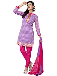 Anjali Presents Stylish Purple & Pink Coloured Embroidered Dress Material