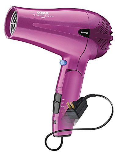 Conair 1875 Watt Cord Keeper 2-in-1 Styler and Hair Dryer, with Folding Handle, Pink (Concentrator Conair compare prices)