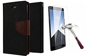 Online Street Wallet Flip With Tempered Glass For Xiaomi Mi4i - (Black + Tempered)