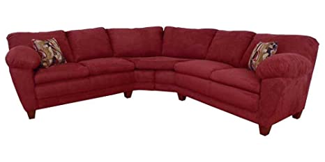 Amanda 2-Pc Sectional Sofa in Bulldozer Burgundy Fabric