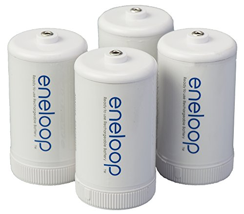 Panasonic BQ-BS1E4SA Eneloop D Size Spacers for Use with Ni-MH Rechargeable AA Battery, 4 Count (D Battery Rechargeable compare prices)