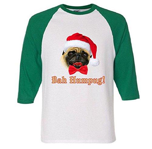 Bah Humpug Christmas Santa Pug Raglan Baseball T-Shirt