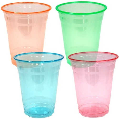 Set Of 40, 12 Ounce Soft Plastic Party Cups And Tumblers, Assorted Neon Colors