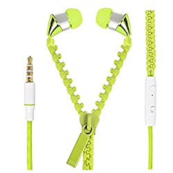Hello Zone Zipper design Stereo Bass 3.5 MM Jack Premium Quality Headset Handsfree Headphone Earphone for Dell Flash -Green