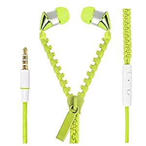 Hello Zone Zipper design Stereo Bass 3.5 MM Jack Premium Quality Headset Handsfree Headphone Earphone for HTC Desire X -Green