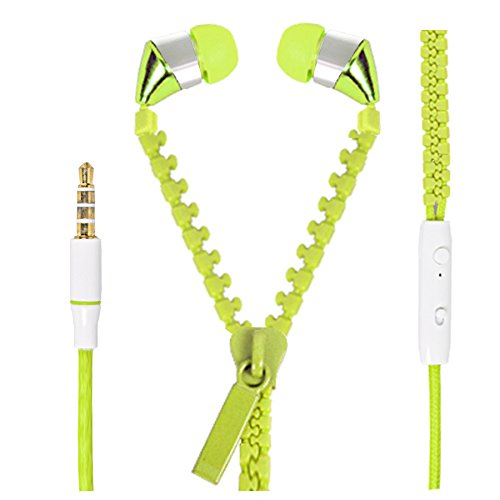 Hello Zone Zipper design Stereo Bass 3.5 MM Jack Premium Quality Headset Handsfree Headphone Earphone for Oppo R1 R829 -Green  available at amazon for Rs.189