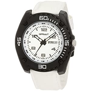 Sprout Men's ST/3005BKBKWT Day-Date Function White Tyvek Strap Strap Bio-Degradable Watch