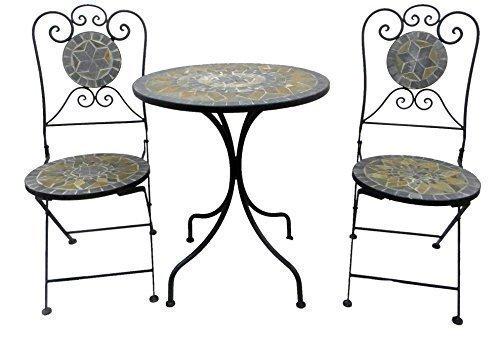 Bistro-Set Balkon-Set Eisen Gartenmöbel Set Mosaik Klappbar