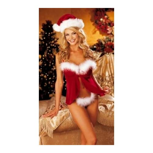 Christmas Adult Costumes : Sexy Stretch Velvet and Marabou Baby Doll (Hat not included) - Plus Sizes Too