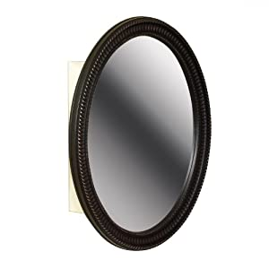 Zenith BMV2532BB, Oval Mirror Medicine Cabinet, Oil Rubbed Bronze Frame
