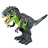 Tyrannosaurus T-Rex Electronic Walking Jurassic Stegosaurus Dinosaur Toys Figure with Swinging Tail Action Roaring Sounds LED Lights Battery Operated Christmas Kids Toys Dinosaurs Gift for Boys Girls