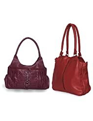 Arc HnH Women Combo Handbag Contemporary Red + Magnificent Pink