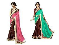 Pragya creations Women's Chiffon Saree (Prag48_Multi)-pack of 2