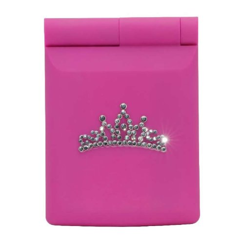 Soft Feel Compact Mirror with LED Lights - Pink Tiara