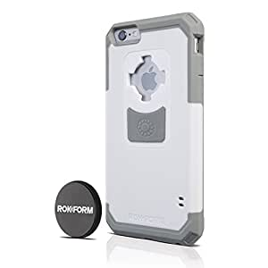 Rokform Ultra Protective, Rugged iPhone 6 Plus Case with Reinforced Corners and Proven Safe Magnetic Car Mount - Retail Packaging - White/Gray