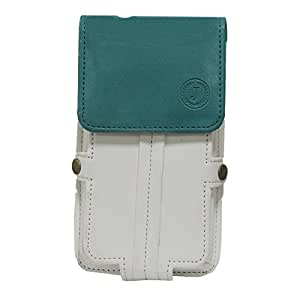 Jo Jo A6 Nillofer Series Leather Pouch Holster Case For BlackBerry Curve 8980 White Light Blue