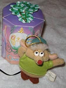 1987 McDonald's Cinderella Holiday Happy Meal Toy - Plush Gus the Mouse Christmas Ornament