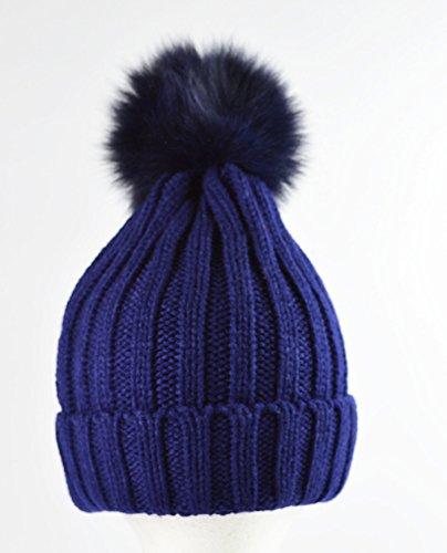 luxe-en-tricot-cotele-bonnet-a-pompon-avec-fourrure-veritable-pom-pom-bleu-marine