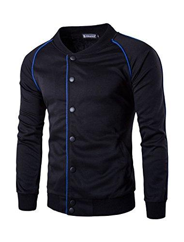 Allegra K Men Snap Button Fastener Raglan Piped Jacket Black S