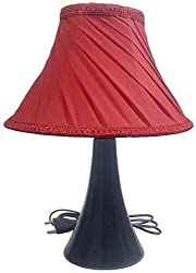 RDC Black Conical Stand Table Lamp with 10 Round Slanting Pleated Red with Lace Border Lamp Shade