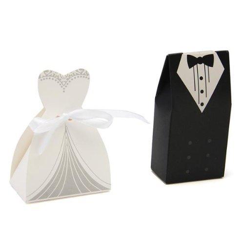 Gleader 100 x Boite Box en Papier Bonbons Sucre Cadeau Mariage Fete + 50pcs Ruban