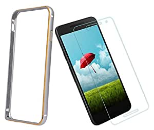 DMGC Bumper Case With Tempered Glass for Sony Xperia C4 - Silver