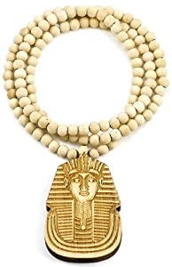 Pharaoh New Good Wood Goodwood Maple Color All Natural Wood Style King Tut Replica Pendant Piece Necklace