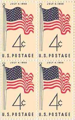 US Flag 1960 Set of 4 x 4 Cent US Postage Stamps NEW Scot #1153