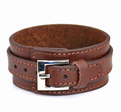 Jirong Soft Leather Cuff cuero de las mujeres del brazalete de la pulsera