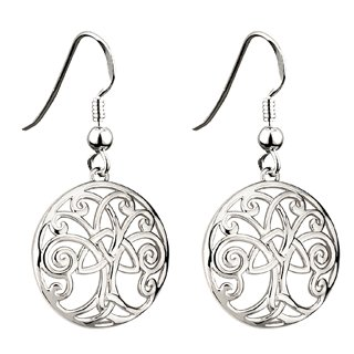 Celtic Rhodium Tree of Life Earrings