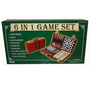 6 IN 1 GAME SET -With Playing Cards and Vinyl Carrying Case and More