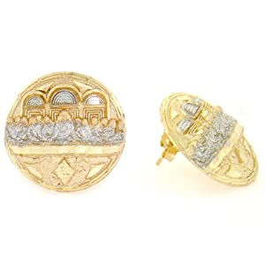 14K Solid Yellow Gold Last Supper Jesus Round Earring