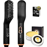 Beard Straightener,Hair Straightener Brush,UPGRADED 3 in 1 Beard Straightening Comb w/FREE Beard Balm and Beard Guide E-Book,Unique Stocking Stuffers Gifts for Men Women Him (Color: Black)