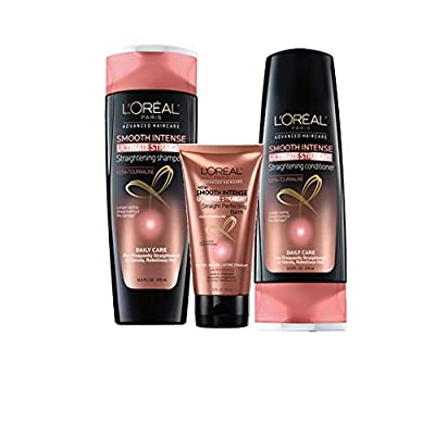 LOreal Smooth Intense Ultimate Straight Straightening Shampoo and Conditioner 12.6 fl oz each and Smooth Intense Ultimate Straight Straight Perfecting Balm 5.1 fl oz (Bundle of 3)