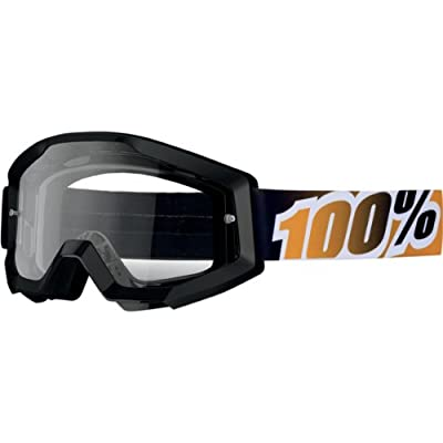 100% unisex-adult Goggle (Black,Clear,One Size) (STRATA MX STRATA -BLACK Mandarina)