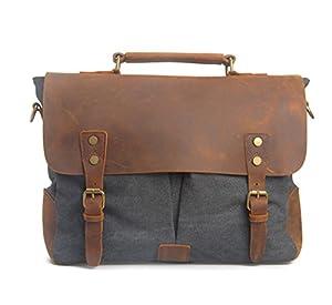 Koson-Man Men/Women's Vintage Canvas Leather Schoolbag Shoulder Crossbody Messenger Bag(Grey) by Koson-Man
