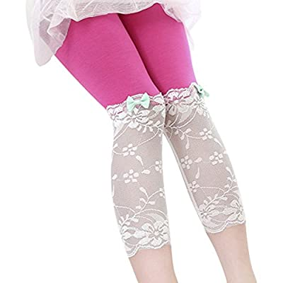 Weixinbuy Kid Girls Summer Modal Lace Bow Tight Cropped Leggings Pants