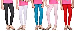 Sinimini 100 Colors Trendy Girls Leggings 5Pcs Combo (SML1505_AMELAGEWHITETBLUELPINKRED_10-12Y)