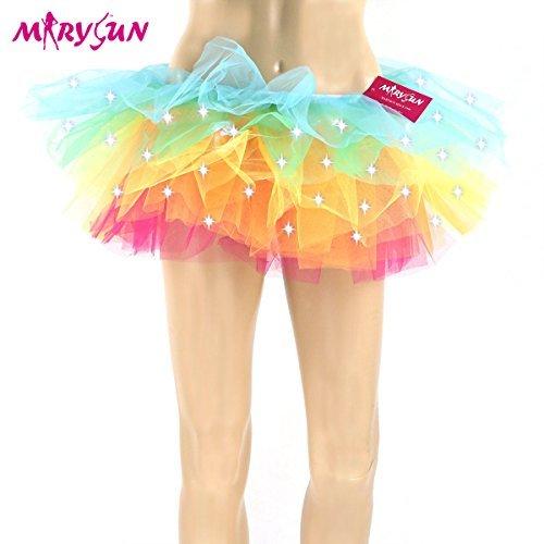 Led Tutu Light Up Neon Rainbow Tutu for Women Girls 80s Costume Tutu for Party