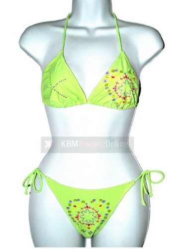 Girls Teens Lime Green Diamonte Bikini Swimming Costume Swimsuit Swimwear 140cms (10 years)