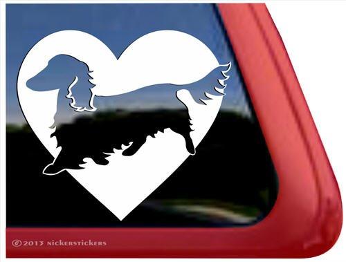 Love Dachshund Dog Vinyl Window Decal Sticker front-516685