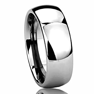 8MM Stainless Steel Wedding Band Ring High Polished Classy Domed Ring (6 to 14) - Size: 6.5 by Prime Pristine