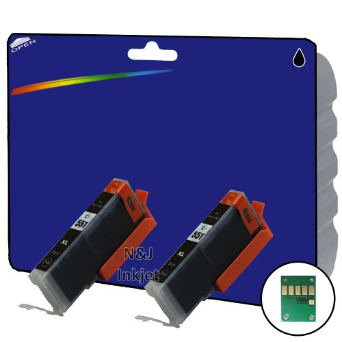 2 Stück, Schwarz, CLI 551 High Capacity Kompatible Tintenpatronen für Canon Pixma iP7250 iP8750 iX6850,,, MG5650, MG5450, MG5550, MG6350, MG6450, MG7150, MG6650, MG7550, MX725, MX925