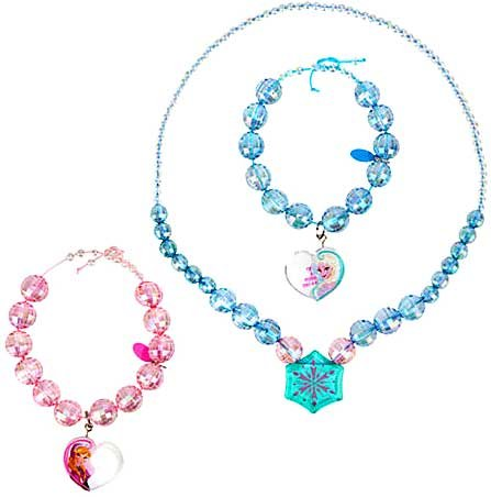 Disney Frozen Anna and Elsa Necklace and Bracelet Set - Disney Store Authentic - 1