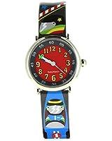 Baby Watch - 606115 - Race - Coffret Apprendre à lire l'heure - Quartz Pédagogique - Cadran Rouge - Bracelet Plastique Multicolore